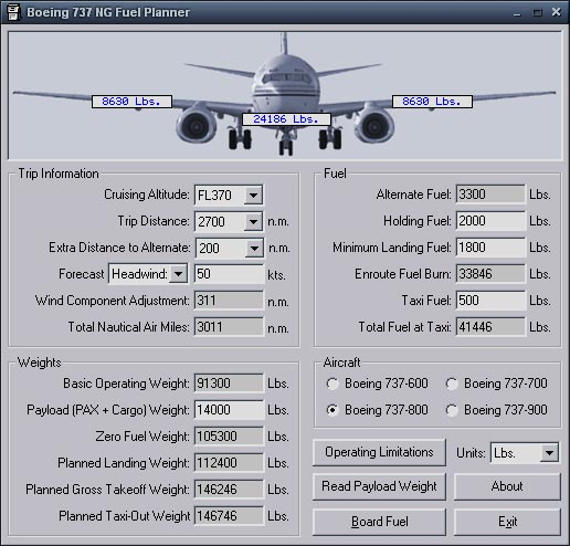 Boeing 737 NG Fuel Planner Utility